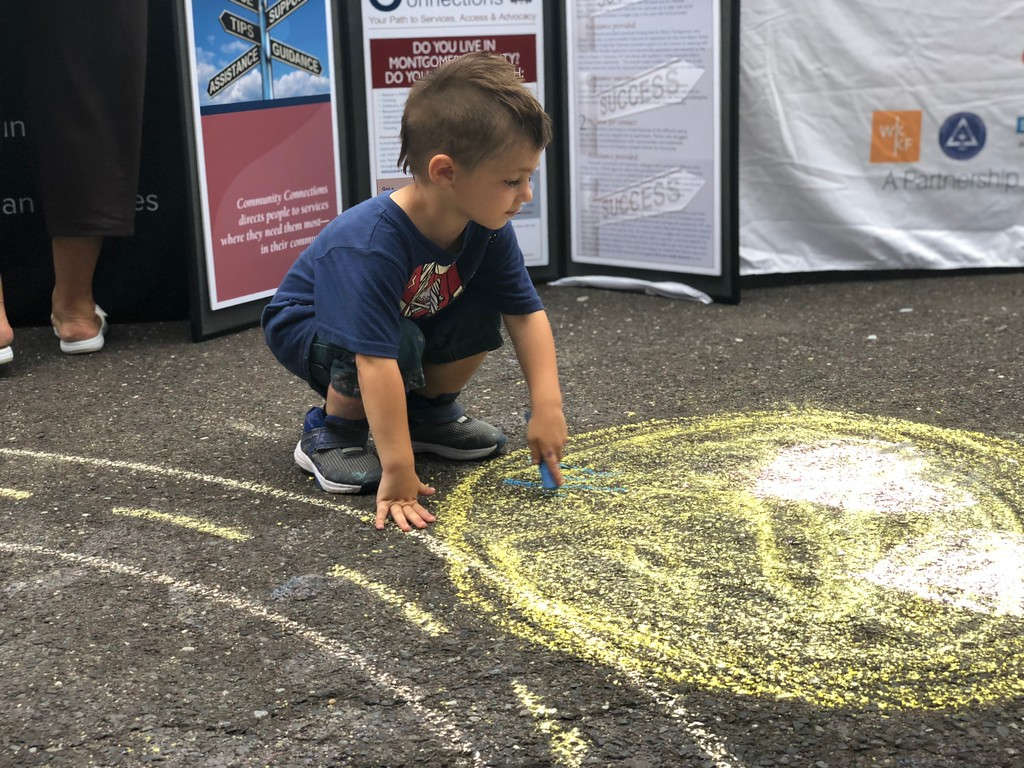 . MONICA SAGER � DIGITAL FIRST MEDIA Mosaic Community Land Trust hosted a sidewalk chalk event at the National Night Out celebration.