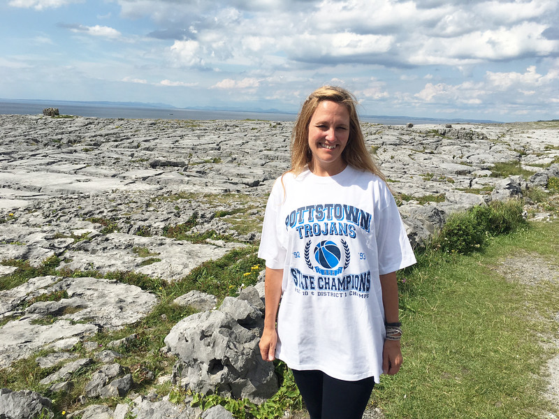 Pottstown School District Reading Trainer, Denise Leschak  takes her We Are Pottstown Championship Pride to Burren National Park in Ireland. Trojan Nation is everywhere.