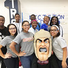 "Trojan Man visits with Pottstown High School students during ""Decision Day,"" when their college and career choices after graduation become final."
