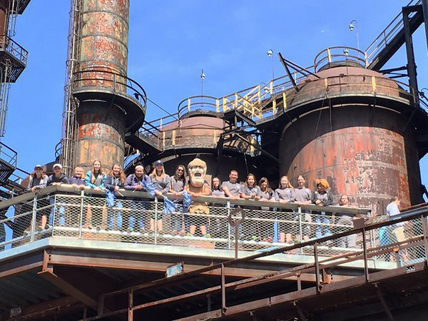 Trojan Man took to the road and helped Pottstown student raise funds for Autism awareness during an event at the former Bethlehem Steel works.