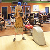 Trojan Man lines up on the ten pins during a fundraiser for the Foundation for Pottstown  Education held at the Limerick Lanes bowling alley and sponsored by the Federation of Pottstown Teachers.