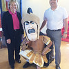Trojan Man thanks local McDonald's owners Marcia and Bruce Graham, who host elementary writing awards every year at their East High Street restaurant.