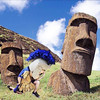 Trojan Man found some kindred spirits when he visited Easter Island, which is also famous for its unusually large craniums....