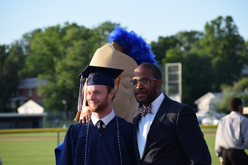 Trojan man jumps in on a photo op following Pottstown High School's graduation Thursday. The class of 2017 had 128 graduates.<br /> <br /> Marian Dennis – Digital First Media