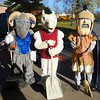 Photo Courtesy of The Hill School<br /> Three schools, three mascots: The Hill School Ram, the Montgomery County Community College Mustang and the Pottstown High School Trojan, ready to clean up the town  together for PottstownCARES Day.