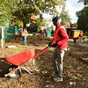 Evan Brandt -- Digital First Media<br /> Michael Eze was a crucial part of the mulch-spreading team at the Mosaic Community Garden during PottstownCARES Day.