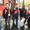 Evan Brandt -- Digital First Media<br /> Another Hill School contingent, from left, Mi Nguyen, 14,  teacher Lucas Delpriore, Benjamin Holladay, 14, Gernard Finney, 16 and Qiang Vigo, 16, was working on Chestnut Street for PottstownCARES Day Thursday.