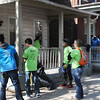 John Strickler - Digital First Media<br /> Students from Pottstown High and The Hill School work on homes during the 'Rock the Block' effort in Pottstown Friday.