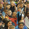 Rupert Elementary School holds Super Hero Day with students and staff wearing super hero shirt during assembly  by Cartoonist Paul Merklein who encourages students to be super hero in their own way September 15, 2016. Gene Walsh — Digital First Media