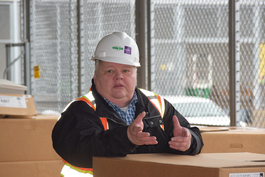 . Cynthia Link, Graterford Prison superintendant, explains the new security features of the loading dock at SCI Phoenix. Marian Dennis -- Digital First media