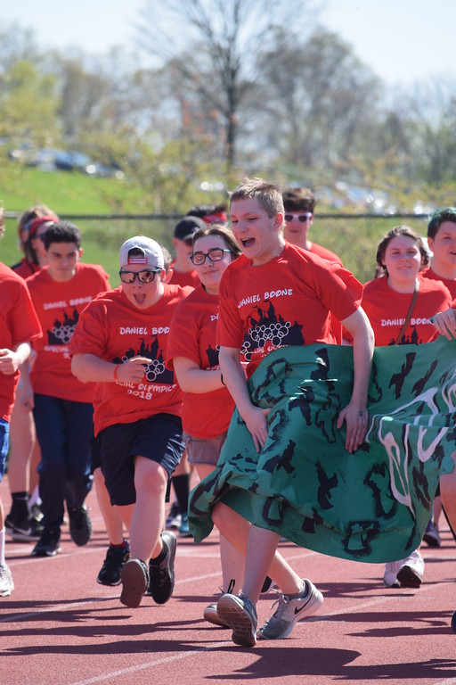 . Marian Dennis � Digital First Media Athletes at Daniel Boone High School�s Special Olympics event were eager to get started Wednesday as they came rushing through a banner representing their district.