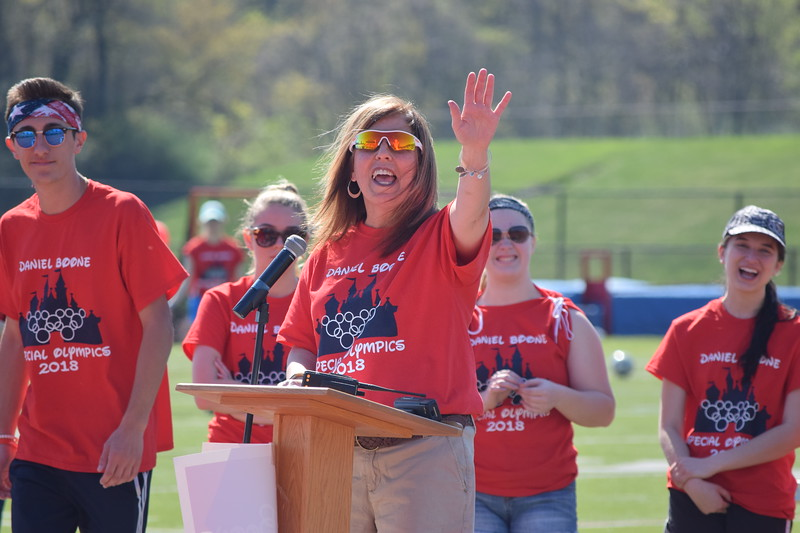 Marian Dennis – Digital First Media<br /> Shelly Mieczkowski,executive director of special education at Daniel Boone High School waves to athletes near the bleachers as they await the opening ceremonies.