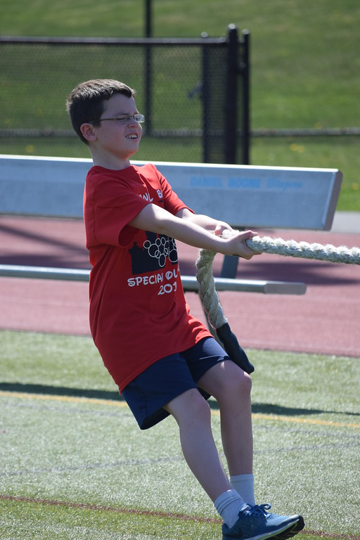 . Marian Dennis � Digital First Media Athletes gave it their all Wednesday during a tug-of-war match during the Special Olympics event held at Daniel Boone High School.