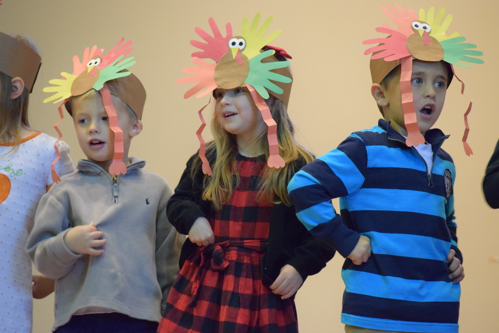 . Sporting construction paper turkey hats, students at St. Teresa of Calcutta School in Limerick performed for their families at their annual Thanksgiving celebration. Marian Dennis-- Digital First Media