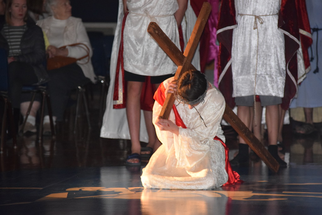 . Marian Dennis � Digital First Media Ethan Boyce, a student at St. Aloysius Parish School, portrays Jesus during a Living Stations performance at the school.