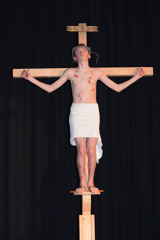 . Marian Dennis � Digital First Media On Tuesday, students at St. Aloysius Parish School performed Living Stations in celebration of the Easter season. Pictured is Ethan Boyce who portrayed Jesus in Tuesday�s performance.