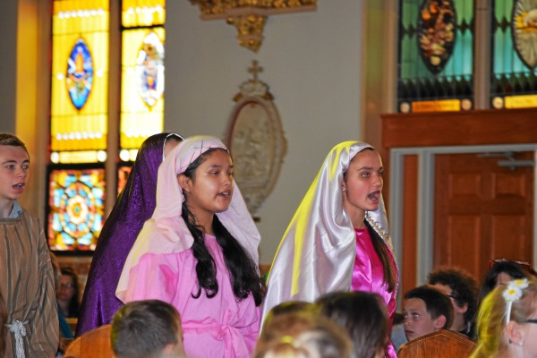 . St. Aloysius students participated in the Living Stations reenactment Wednesday just before Easter break.  Marian Dennis � Digital First Media