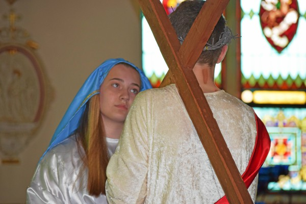 . In the fourth station, Mary, portrayed by Bridget Ferris, meets her son on the way to his crucifixion. The students performed the Living Stations Wednesday at St. Aloysius Church in Pottstown. Marian Dennis � Digital First Media