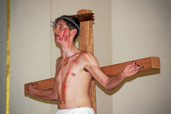. Max McCullagh performs as Jesus during St. Aloysius� Living Stations event.  Marian Dennis � Digital First Media