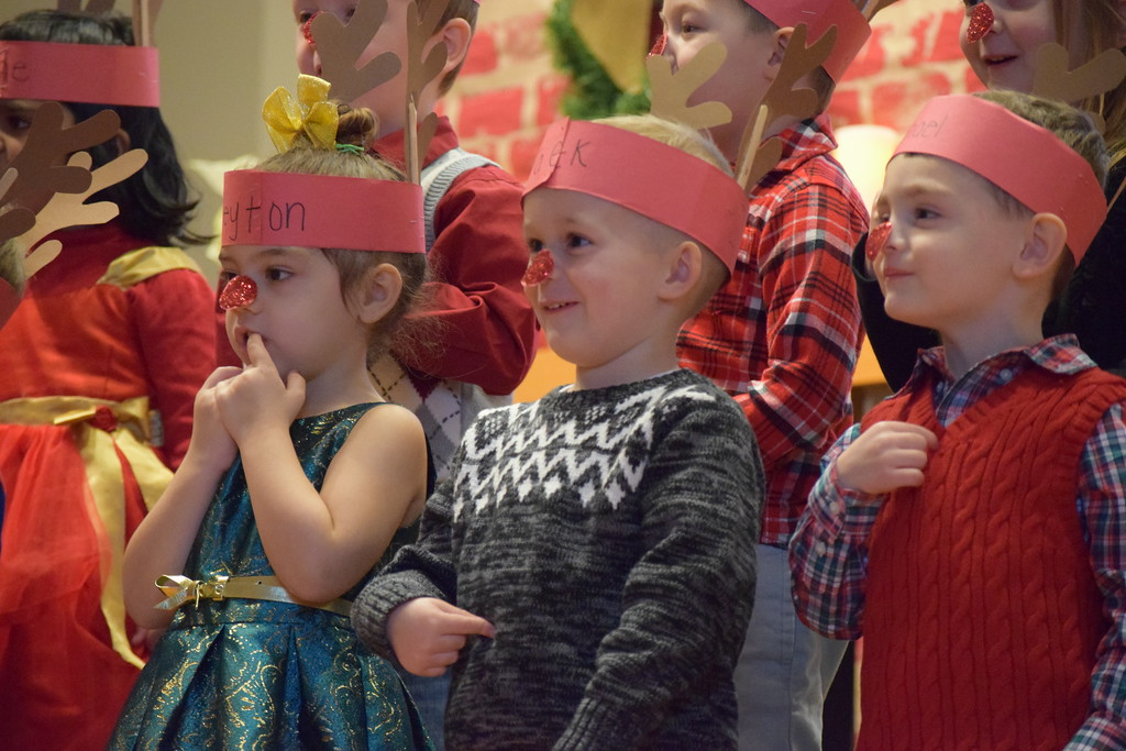 . A sea of red noses and antlers filled the stage at St. Teresa of Calcutta School in Limerick Friday as children performed during the Christmas concert. Marian Dennis -- Digital First Media