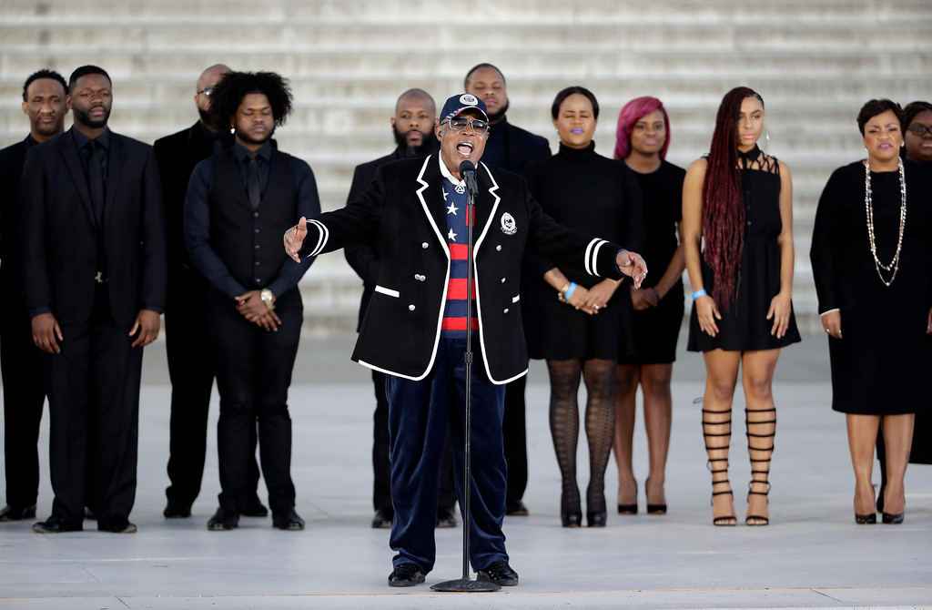 """. Singer Sam Moore performs during a pre-Inaugural \""""Make America Great Again! Welcome Celebration\"""" at the Lincoln Memorial in Washington, Thursday, Jan. 19, 2017. (AP Photo/David J. Phillip)"""
