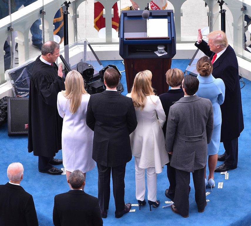 . Donald Trump is sworn-in as the 45th president during the Inauguration on Capitol Hill in Washington, Friday, Jan. 20, 2017. (Ricky Carioti/The Washington Post/Pool Photo via AP)