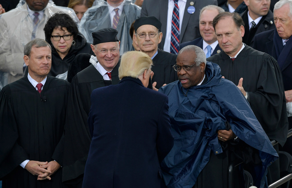 . President Donald Trump speaks to Justices of the Supreme Court during the 58th Presidential Inauguration at the U.S. Capitol in Washington, Friday, Jan. 20, 2017. (AP Photo/Susan Walsh)