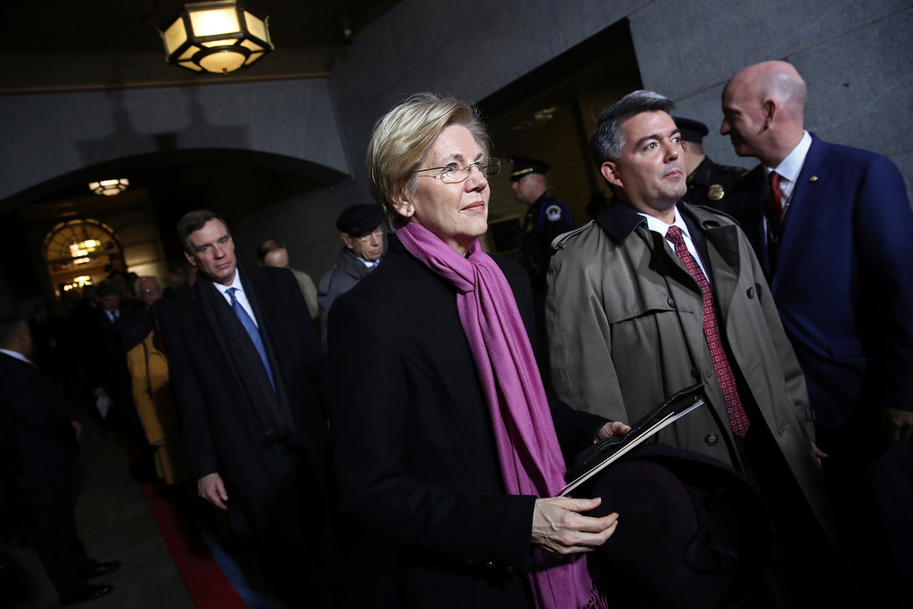 . Sen. Elizabeth Warren, D-Mass., arrives on the West Front of the U.S. Capitol on Friday, Jan. 20, 2017, in Washington, for Donald Trump\'s inauguration ceremony as the 45th president of the United States. (Win McNamee/Pool Photo via AP)