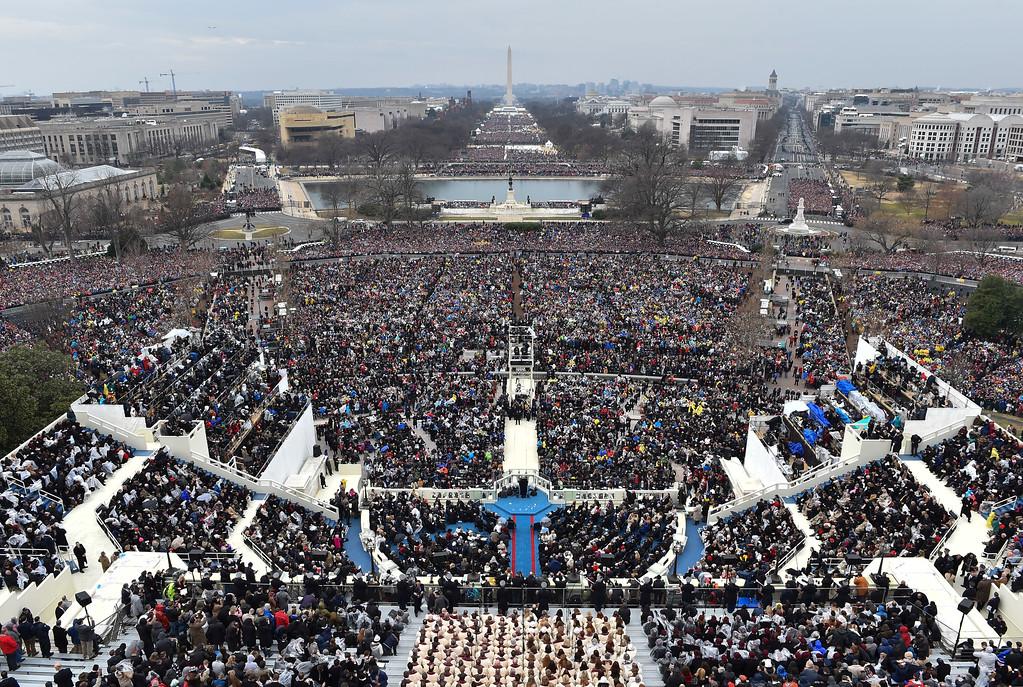 . President Donald Trump gives his inaugural address on Capitol Hill in Washington, Friday, Jan. 20, 2017. (Ricky Carioti/The Washington Post/Pool Photo via AP))