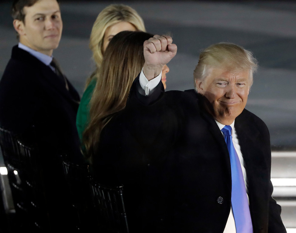 """. President-elect Donald Trump attends a pre-Inaugural \""""Make America Great Again! Welcome Celebration\"""" at the Lincoln Memorial in Washington, Thursday, Jan. 19, 2017. (AP Photo/David J. Phillip)"""