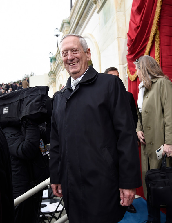 . Defense Secretary-designate James Mattis arrives on Capitol Hill in Washington, Friday, Jan. 20, 2017, for the presidential inauguration of Donald Trump. (Saul Loeb/Pool Photo via AP