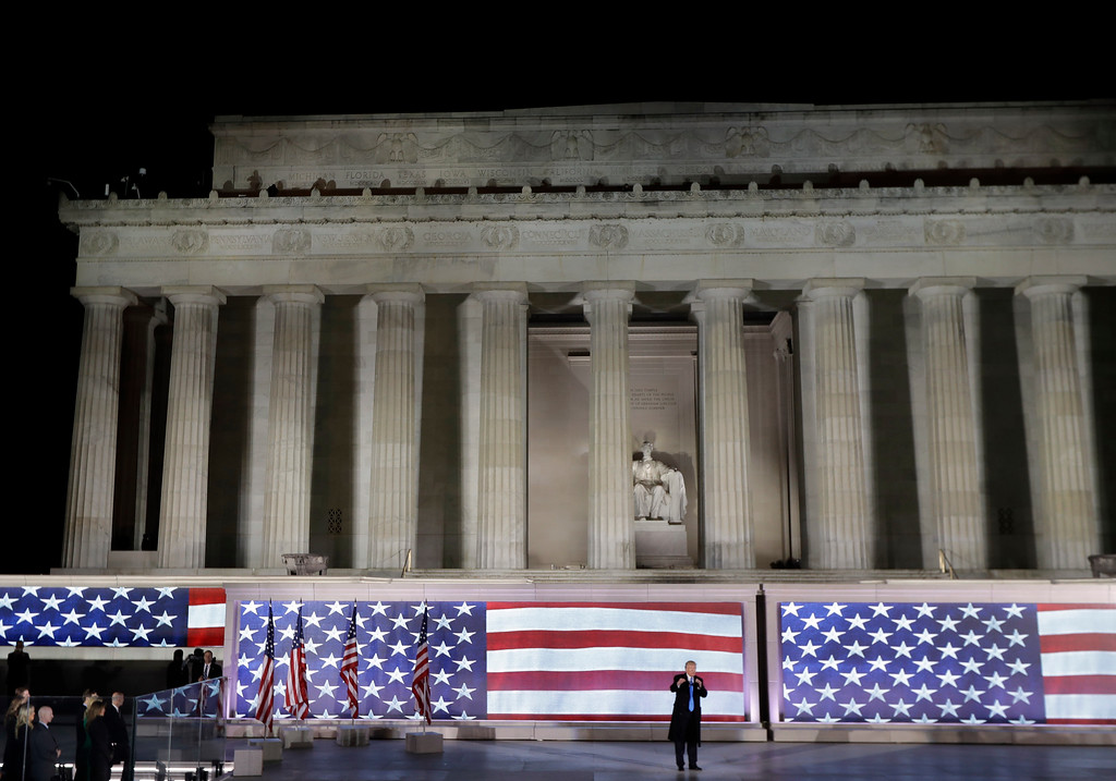 ". President-elect Donald Trump speaks at a pre-Inaugural ""Make America Great Again! Welcome Celebration\"" at the Lincoln Memorial in Washington, Thursday, Jan. 19, 2017. (AP Photo/David J. Phillip)"
