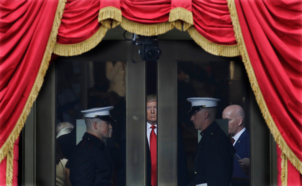 . President-elect Donald Trump waits to stop out onto the portico for his Presidential Inauguration at the U.S. Capitol in Washington, Friday, Jan. 20, 2017. (AP Photo/Patrick Semansky)
