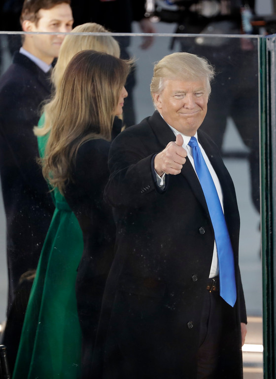 ". President-elect Donald Trump and his wife Melania Trump appear at a pre-Inaugural ""Make America Great Again! Welcome Celebration\"" at the Lincoln Memorial in Washington, Thursday, Jan. 19, 2017. (AP Photo/David J. Phillip)"