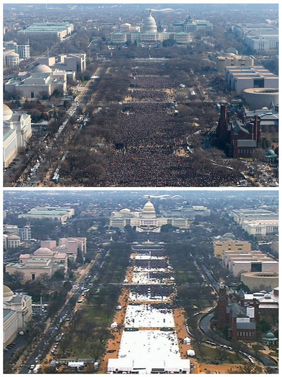 . This pair of photos shows a view of the crowd on the National Mall at the inaugurations of President Barack Obama, above, on Jan. 20, 2009, and President Donald Trump, below, on Jan. 20, 2017. The photo above and the screengrab from video below were both shot shortly before noon from the top of the Washington Monument. (AP Photo)