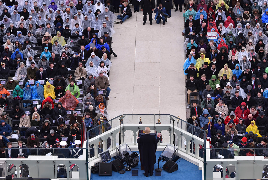 . President Donald Trump gives his inaugural on Capitol Hill in Washington, Friday, Jan. 20, 2017,  during his presidential Inauguration. (Ricky Carioti/The Washington Post/Pool Photo via AP))