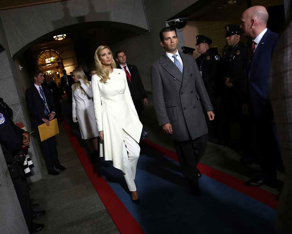 . Ivanka Trump, left, and Donald Trump, Jr. arrive on the West Front of the U.S. Capitol on Friday, Jan. 20, 2017, in Washington, for Donald Trump\'s inauguration ceremony as the 45th president of the United States. (Win McNamee/Pool Photo via AP)