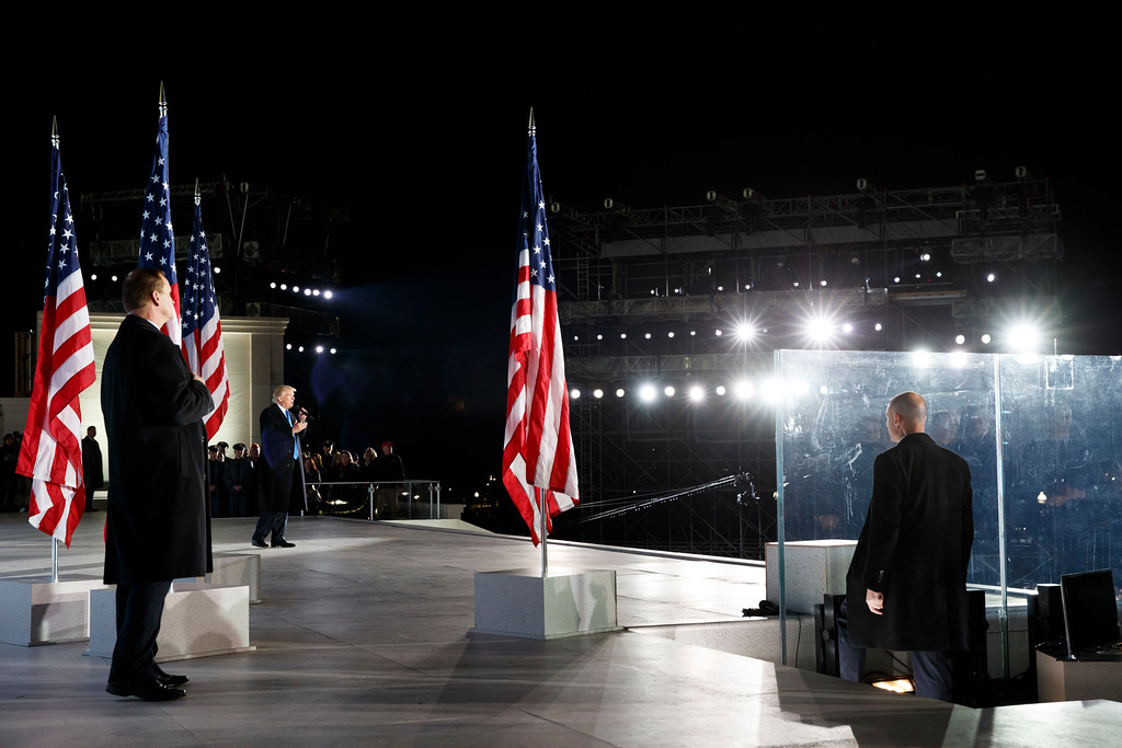 """. President-elect Donald Trump speaks during the \""""Make America Great Again Welcome Concert\"""" at the Lincoln Memorial, Thursday, Jan. 19, 2017, in Washington. (AP Photo/Evan Vucci)"""