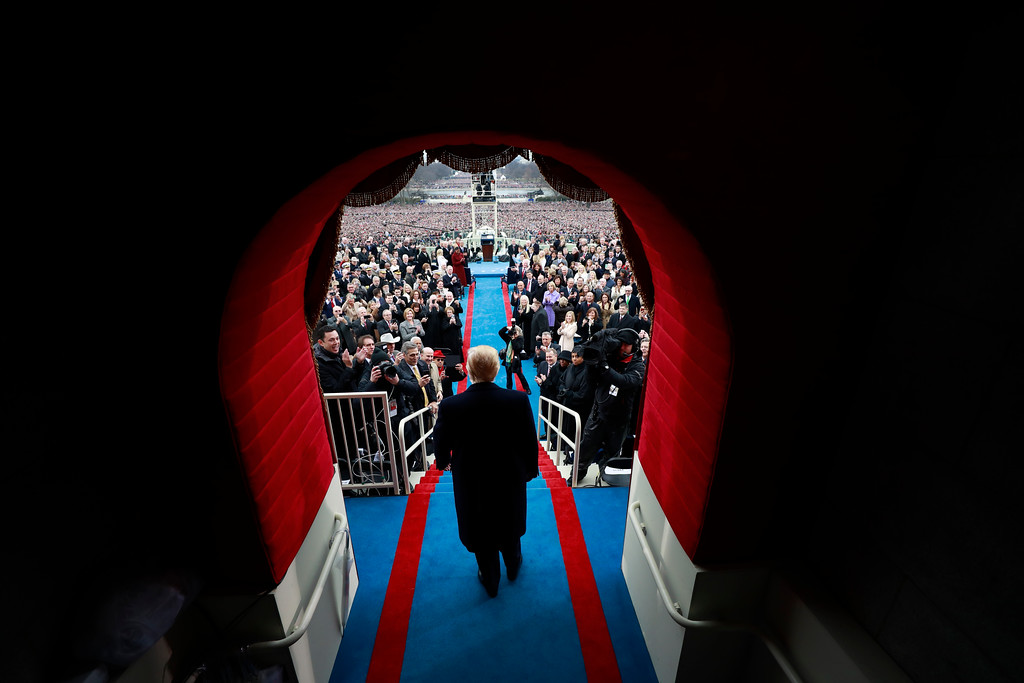 . President-elect Donald J. Trump arrives on Capitol Hill in Washington, Friday, Jan. 20, 2017, for his presidential inauguration ceremony.  (Doug Mills/Pool Photo via AP)