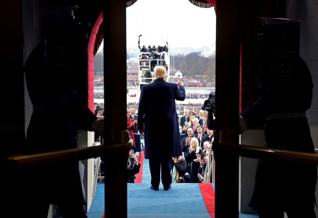 . President-elect Donald Trump arrives on the West Front of the Capitol in Washington, Friday, Jan. 20, 2017, for his presidential inauguration. (Win McNamee/Pool Photo via AP)