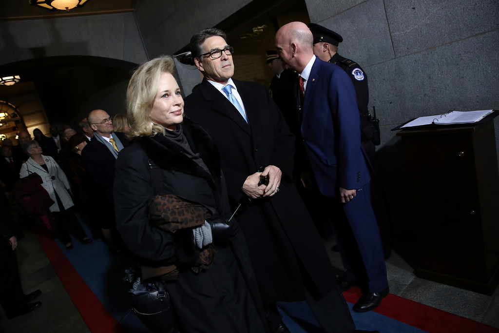 . Energy Secretary-designate Rick Perry and Anita Perry arrive on the West Front of the U.S. Capitol on Friday, Jan. 20, 2017, in Washington, for Donald Trump\'s inauguration ceremony as the 45th president of the United States. (Win McNamee/Pool Photo via AP)