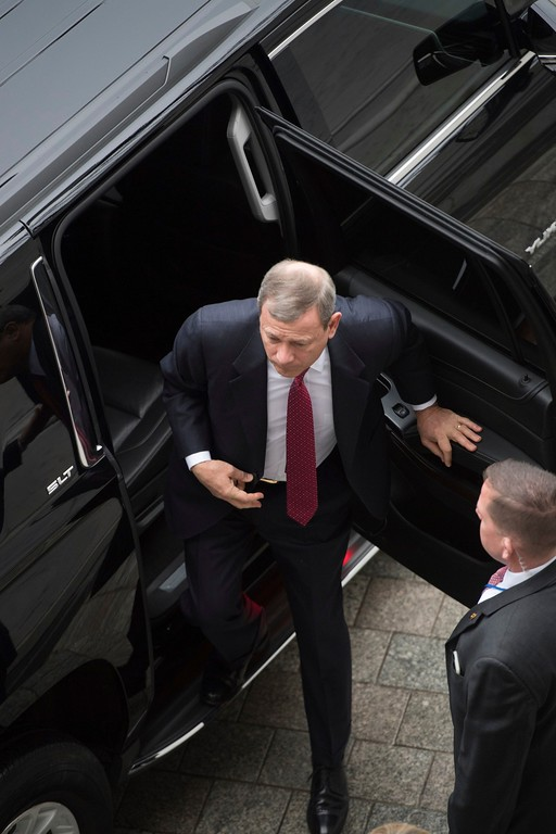 . Chief Justice John Roberts arrives on Capitol Hill in Washington, Friday, Jan. 20, 2017, prior to administering the presidential oath to Donald Trump during the presidential inaugural for Trump. ( Jack Gruber/Pool Photo via AP)