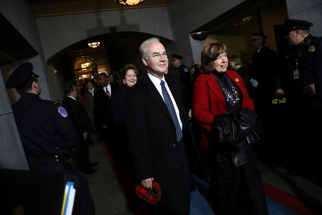 . Health and Human Secretary-designate Rep. Tom Price, R-Ga., arrives on the West Front of the U.S. Capitol on Friday, Jan. 20, 2017, in Washington, for Donald Trump\'s inauguration ceremony as the 45th president of the United States. (Win McNamee/Pool Photo via AP)