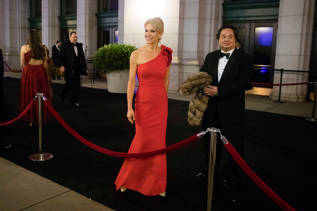 . President-elect Donald Trump adviser Kellyanne Conway speaks with members of the media as she arrives for a dinner at Union Station ahead of Friday\'s presidential inauguration, in Washington, Thursday, Jan. 19, 2017. (AP Photo/Matt Rourke)