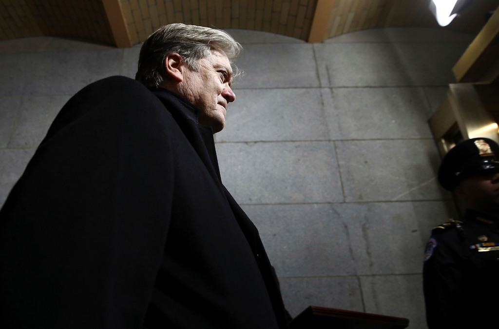 . Senior Counselor to the President Steve Bannon arrives on the West Front of the U.S. Capitol on Friday, Jan. 20, 2017, in Washington, for Donald Trump\'s inauguration ceremony as the 45th president of the United States. (Win McNamee/Pool Photo via AP)