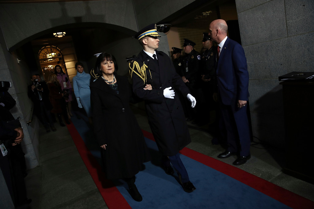 . Karen Pence arrives on the West Front of the U.S. Capitol on Friday, Jan. 20, 2017, in Washington, for Donald Trump\'s inauguration ceremony as the 45th president of the United States. (Win McNamee/Pool Photo via AP)