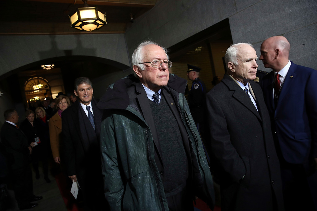 . Sen. Bernie Sanders, I-Vt., arrives on the West Front of the U.S. Capitol on Friday, Jan. 20, 2017, in Washington, for Donald Trump\'s inauguration ceremony as the 45th president of the United States. (Win McNamee/Pool Photo via AP)