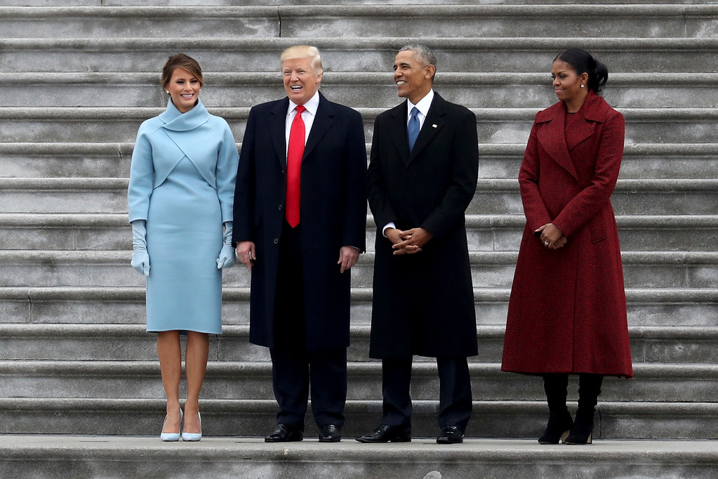 . From left, first lady Melania Trump, President Donald Trump, former president Barack Obama and Michelle Obama stand on the steps of the U.S. Capitol on Friday, Jan. 20, 2017, in Washington, after Trump\'s inauguration ceremony. (Rob Carr/Pool Photo via AP)