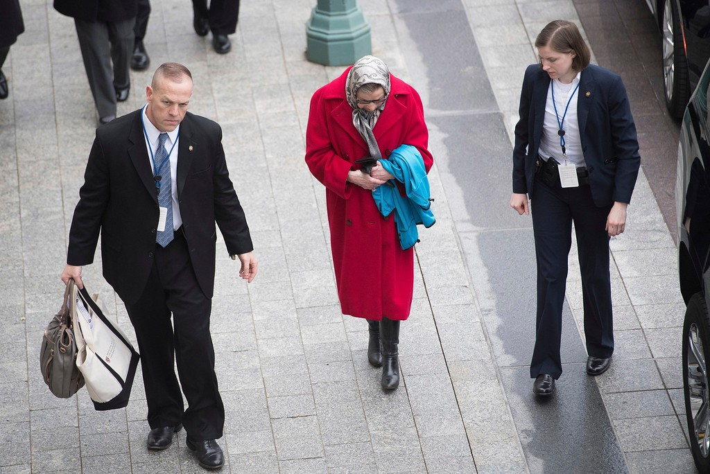 . Supreme Court justice Ruth Bader Ginsburg arrives prior to the inaugural for Trump as 45th US president on January 20, 2017 in Washington, DC. (Jack Gruber/Pool Photo via AP)