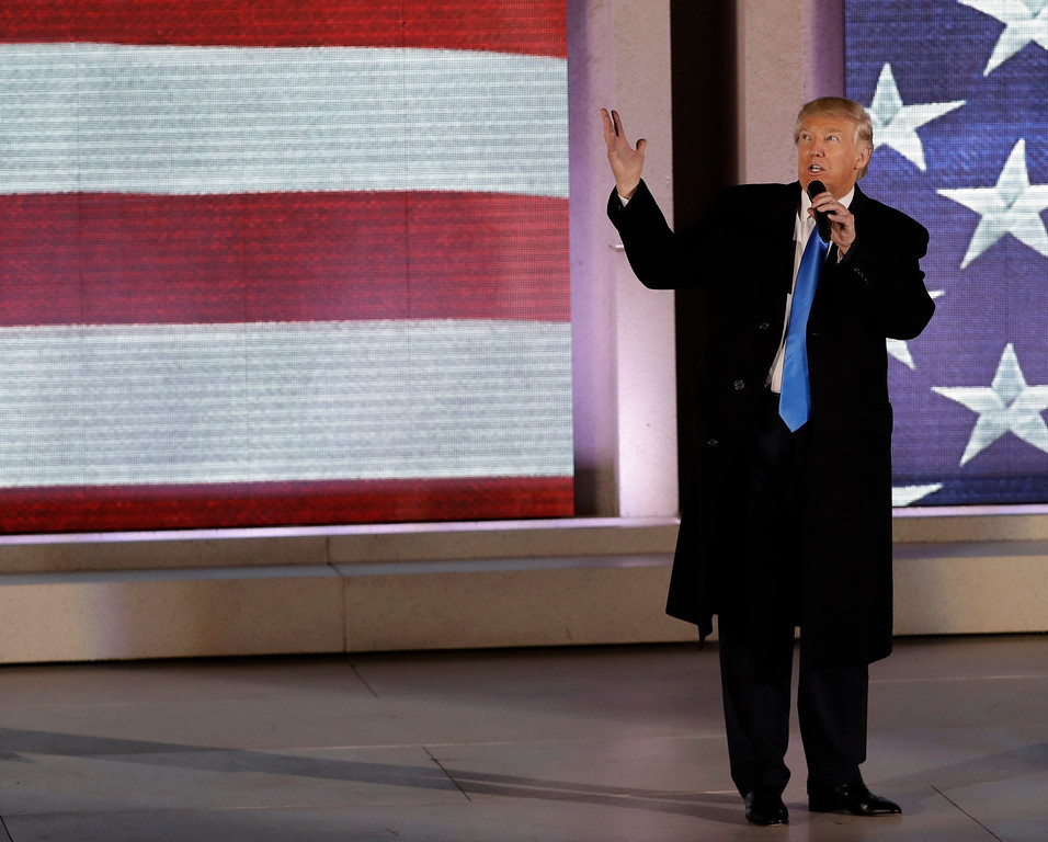""". President-elect Donald Trump speaks at a pre-Inaugural \""""Make America Great Again! Welcome Celebration\"""" at the Lincoln Memorial in Washington, Thursday, Jan. 19, 2017. (AP Photo/David J. Phillip)"""